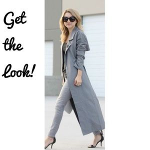 Vintage Gray Blue Trench Rain Coat 42 bust Large