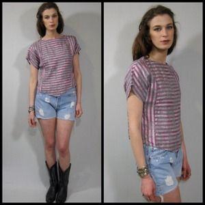 vintage V hem striped woven top