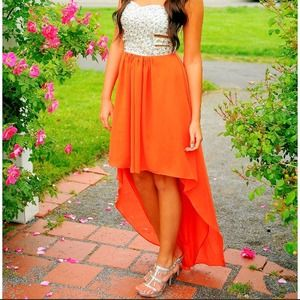 Orange sequined top w/ cutouts sides prom dress