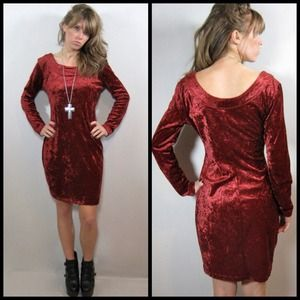80s/90s Bisou Bisou velvet body on dress