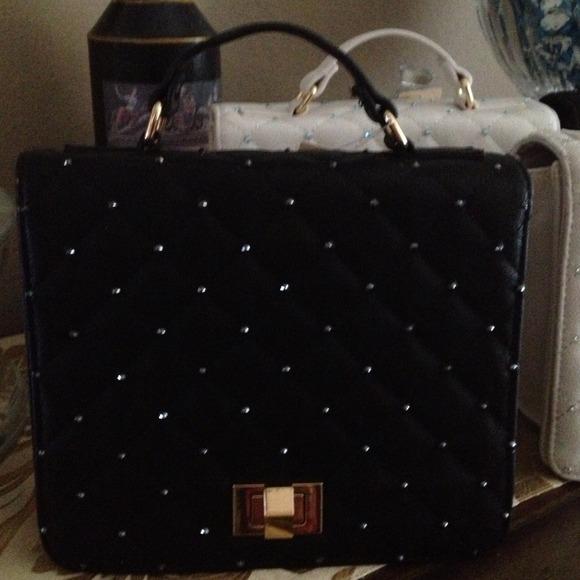Handbags - Gorgeous black handbag with Swarovski crystals
