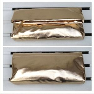 The Limited Bags - New Metallic Gold Folded Clutch/Crossbody