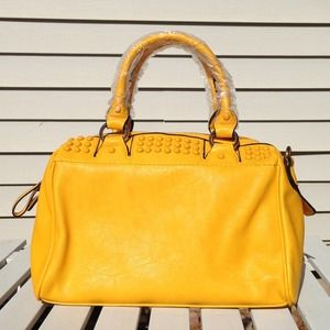 New Mustard Yellow Studded Handbag