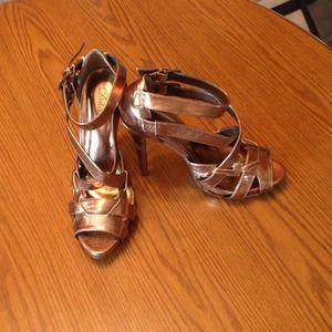 delicious Shoes - Bronze Strappy Heels