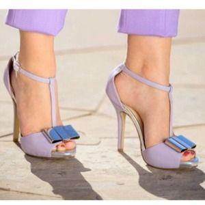 Shoedazzle Shoes - New Lavender T-Strap Pumps w/ Silver Metal Bow