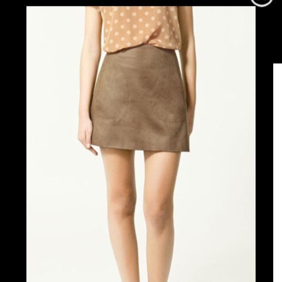 56cb3f78de Zara Skirts   12 Off Salehost Pick Faux Suede Skirt   Poshmark