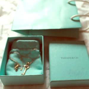 Tiffany heart key charm in 18k rose gold on chain