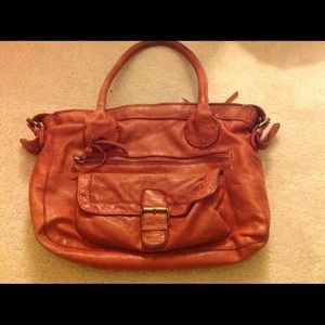 ASOS red leather bag