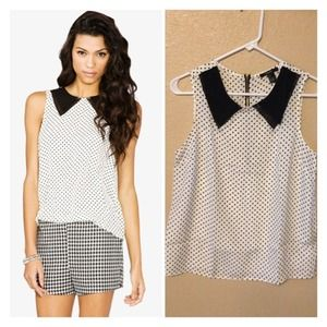 New White/Black PolkaDot Sleeveless Top