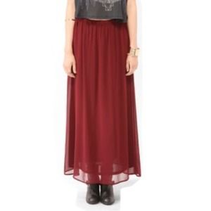 Burgundy Chiffon Maxi Skirt