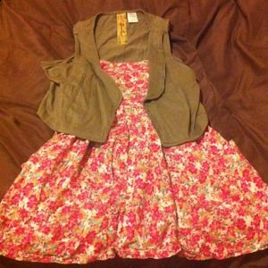 floral flowy shirt with vest