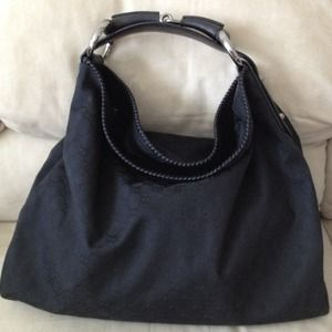 25% off Gucci Handbags - GUCCI Black Canvas GG Large Horsebit Hobo ...
