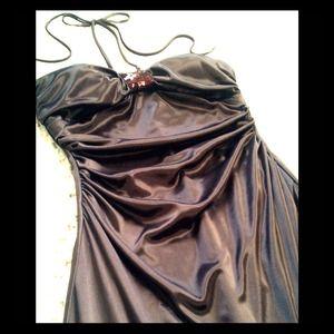 Brown satin evening dress