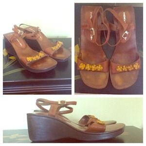 Floral Leather Wedges