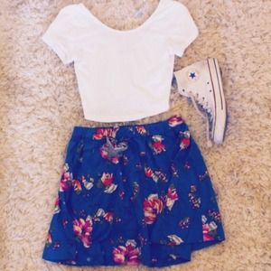 Floral Skater Skirt & colorblock sweater