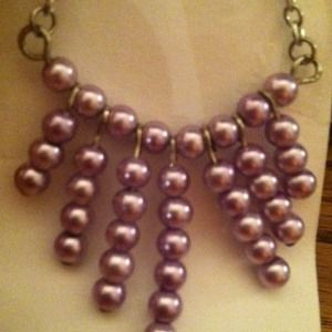 "Lavender ""tribal"" beaded necklace"