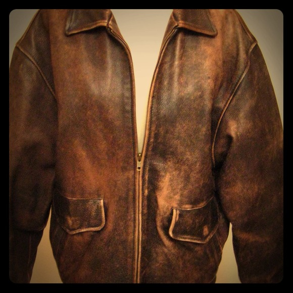 Distressed Leather Bomber Jacket - JacketIn