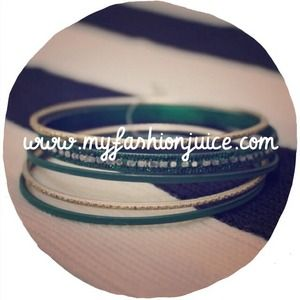 Set of silver and green bangles