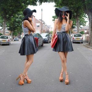 🎉HOST PICK🎉Black Faux Vegan Leather Flare Skirt