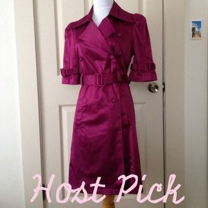 Elle Dresses & Skirts - Host Pick! - Purple Trench Coat Dress with Pockets