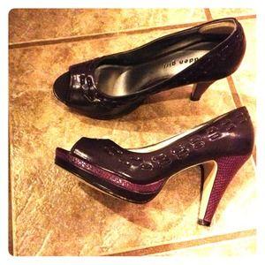 "Madden Girl Open Toe 4"" Heel. Purple."