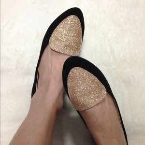 Shoes - Gold Glitter Velvet Flats