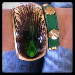 Peacock enamel bracelet