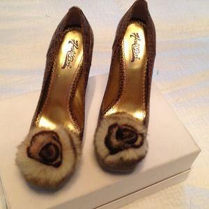 Hale Bob Shoes - *HOLD*  Hale Bob brown croc embossed heels w/ fur