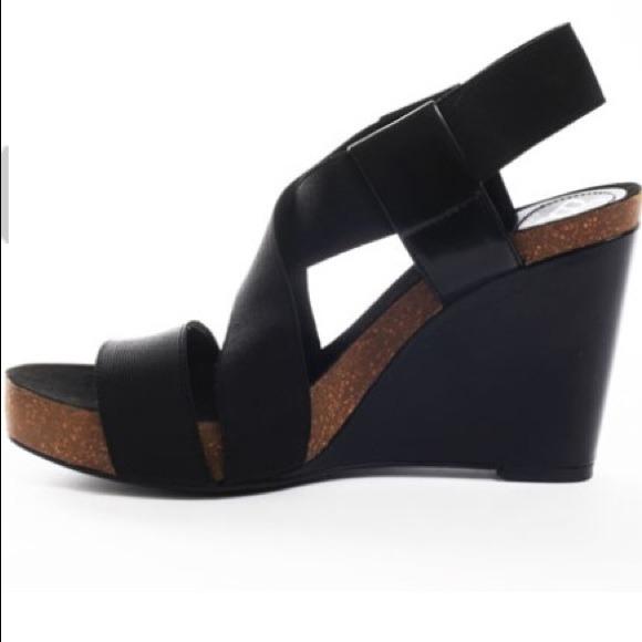 5d66bb088 BCBGeneration Shoes | Bcbg Black Elastic Strap Platform Wedge Sandal ...