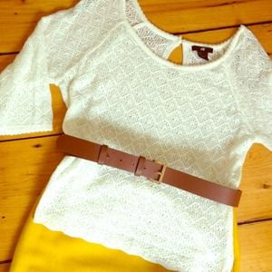 Ivory pointelle knit top