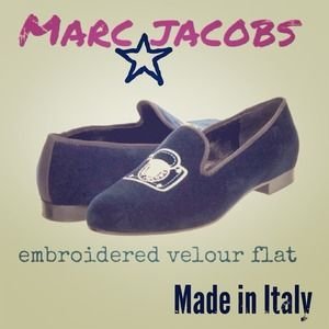 "MARC JACOBS ""Pushlock"" Velour Smoking Flats"