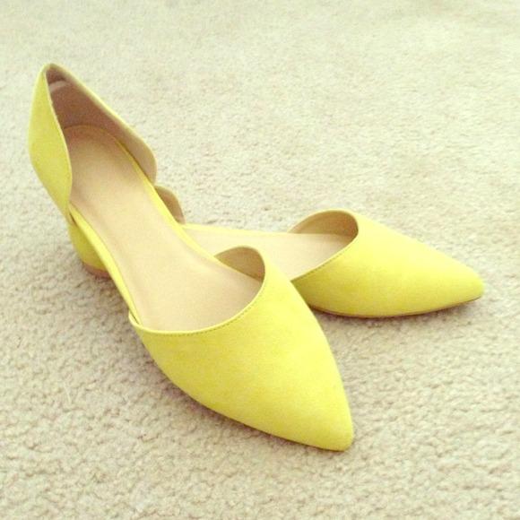 Yellow Pointed Toe Dorsay Flats   Poshmark