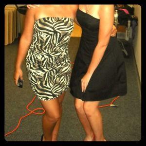 Side ruched strapless zebra dress
