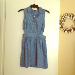 Blue and white cut out dress.