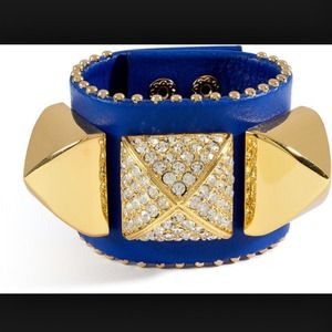 Juicy Couture Pave Pyramid Blue Leather Stud Cuff
