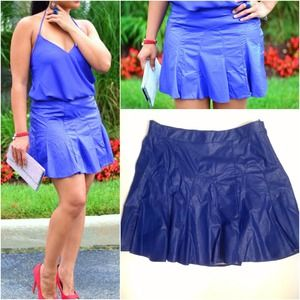 local boutique Dresses & Skirts - Blueberry Faux leather flippy skirt
