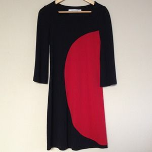 Diane von Furstenberg Geometric Red & Black Dress