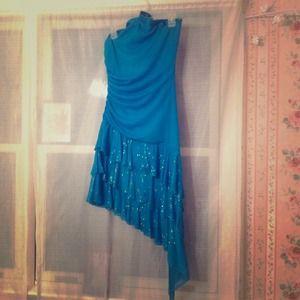Dresses - Teal sparkly bottom halter top dress *REDUCED*