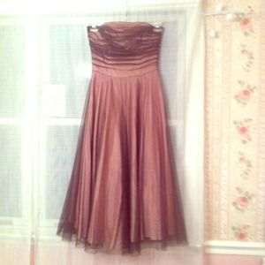 Dresses & Skirts - Pink with brown overlay tea length dress *REDUCED*