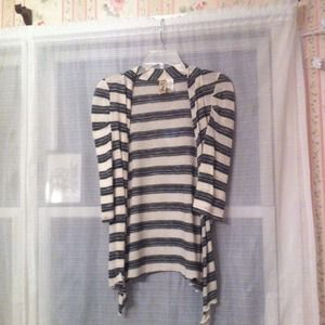 Sweaters - Black gray and white striped lightweight cardigan