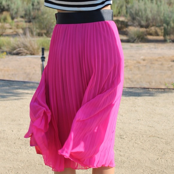 60% off H&M Dresses & Skirts - H&M pink pleated midi skirt from ...