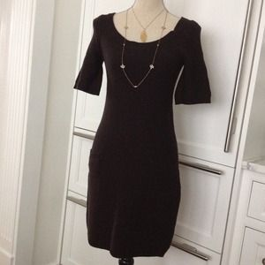 $250 espresso knit sweater dress