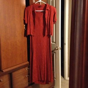 Teddi Dresses - Crinkle dress and cover, burnt orange/rust shade