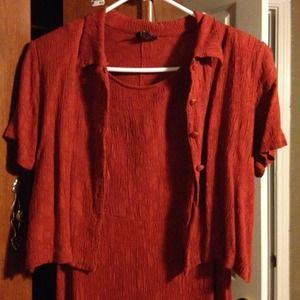 Teddi Dresses - Crinkle dress and cover, burnt orange/rust shade