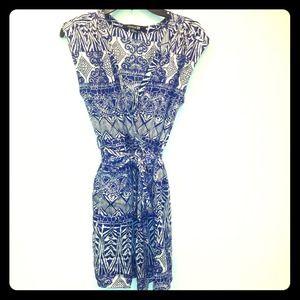 Purple print sleeveless dress