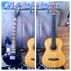 Ibanez mikro Electric and squier acoustic guitar for sale