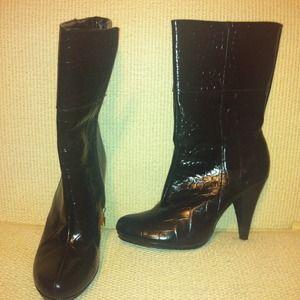 Randolph Duke black croc leather boot Sz9