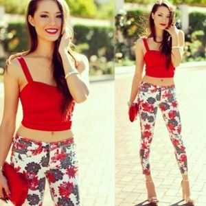 Bebe flower skinny jeans 26