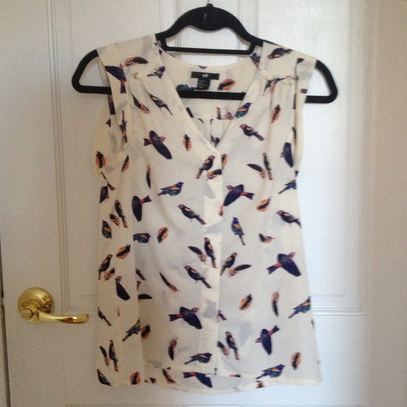 H&m Bird Print Blouse