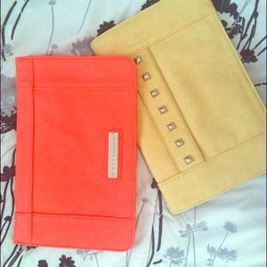 BCBG Coral and Yellow Clutch